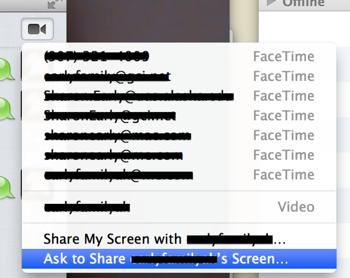 iMessage video chat options